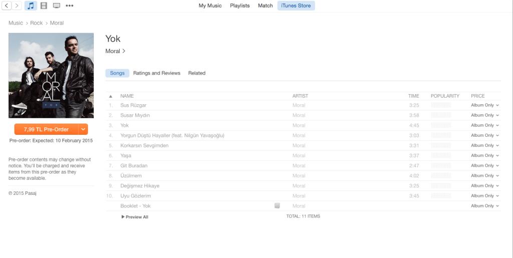 iTunes YOK